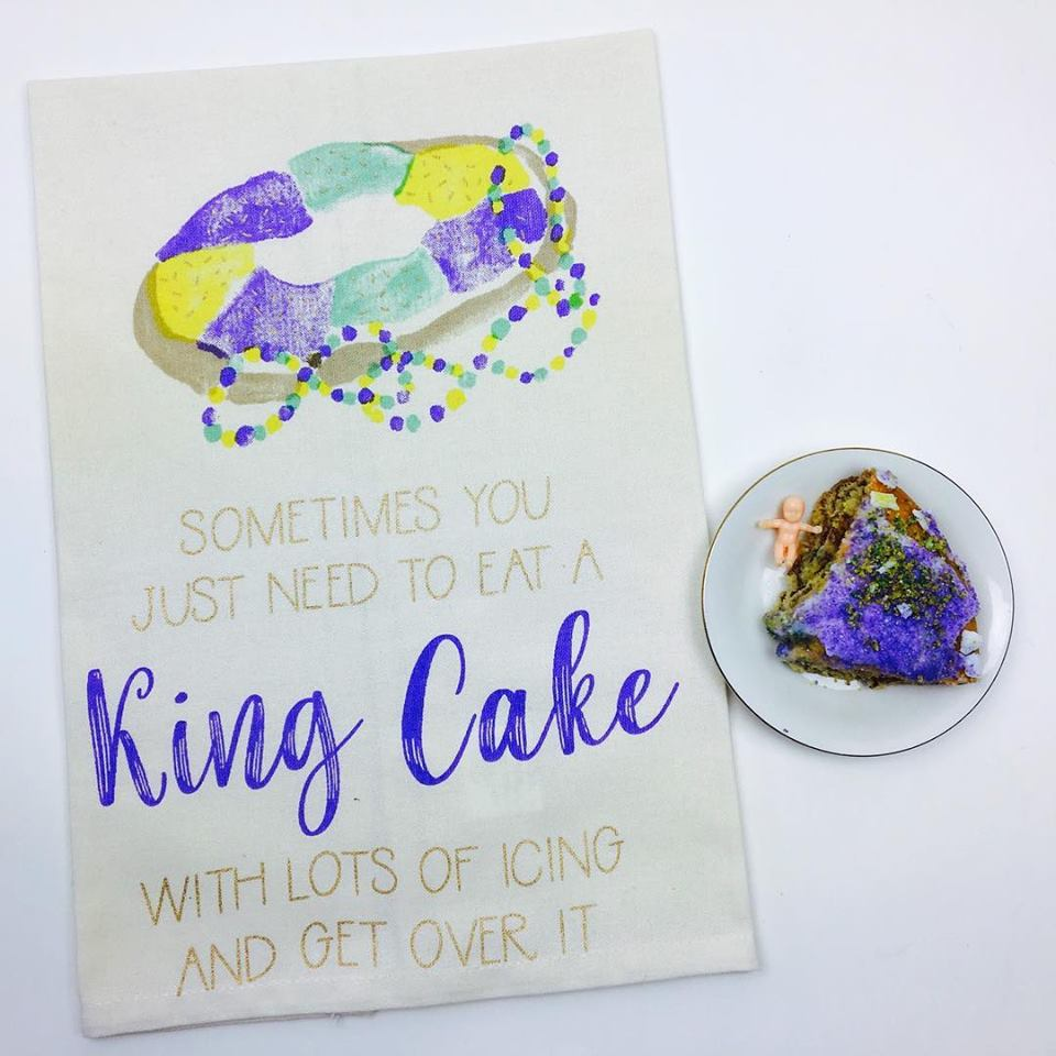 """King Cake... Get Over It"" Kitchen Towel - Party Cup Express"