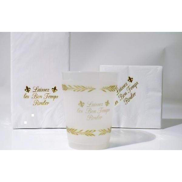 """Laissez Les Bon Temps Rouler"" Guest Towels & Beverage Napkins - Party Cup Express"