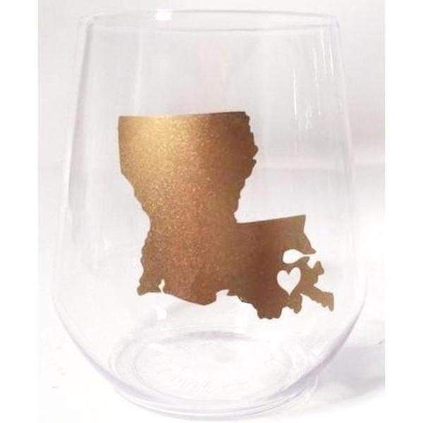Louisiana ♥ NOLA Stemless Wine Glasses