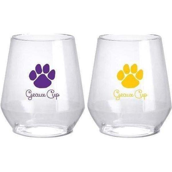 LSU Geaux Cup Stemless Wine Glasses - Party Cup Express