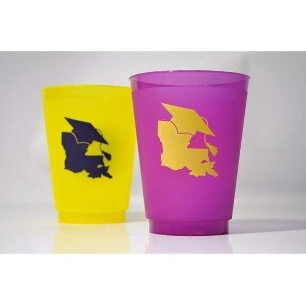 Lsu Graduation Frost Flex Cups (Pk Of 25) - Party Cup Express