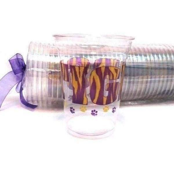LSU Tigers 16 oz Clear Disposable Cups - Party Cup Express