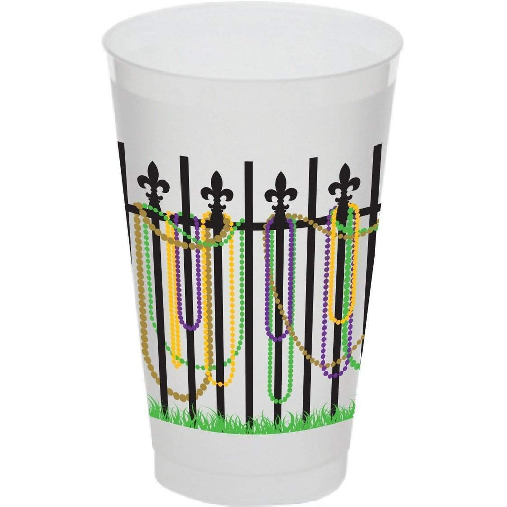 Mardi Gras Bead Fence 20 oz Frosted Cups - Party Cup Express