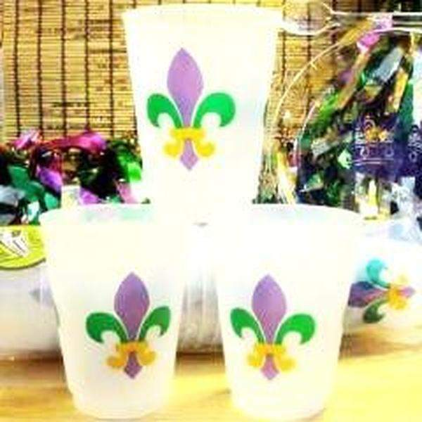 Mardi Gras Fleur De Lis Frost Flex Cups - Party Cup Express