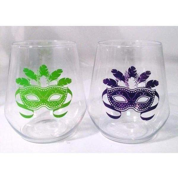 Mardi Gras Mask Stemless Wine Glasses-Party Cup Express