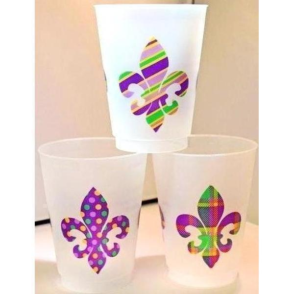 Mardi Gras Pattern Frost Flex Cups - Party Cup Express