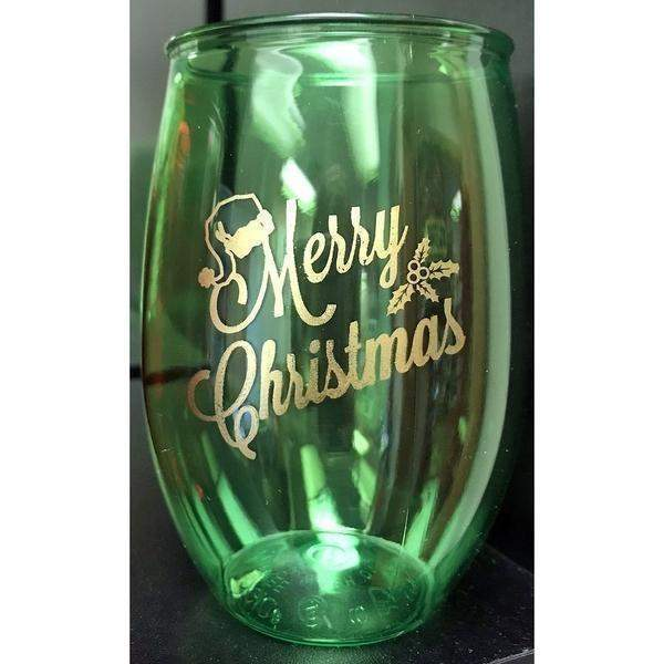 """Merry Christmas"" Stemless Wine Glasses - Party Cup Express"
