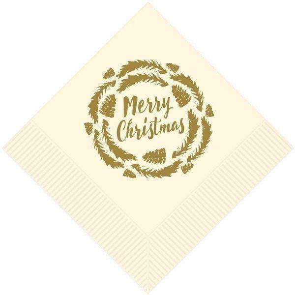 'Merry Christmas' Wreath Beverage Napkins (25/pk) - Party Cup Express