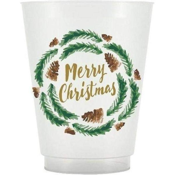 Merry Christmas Wreath Frost Flex Cups - Party Cup Express