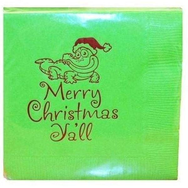 Merry Christmas Y'All Alligator Beverage Napkins - Party Cup Express