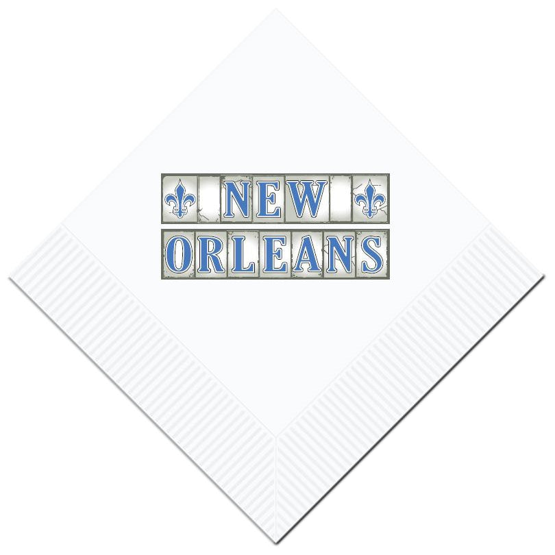 New Orleans Street Tiles Beverage Napkins (pk/25) - Party Cup Express