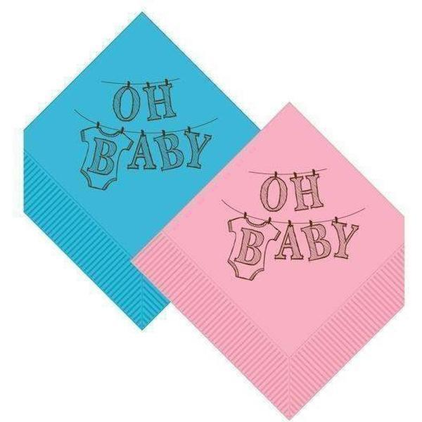 OH BABY Beverage Napkins (3 color options) - Party Cup Express
