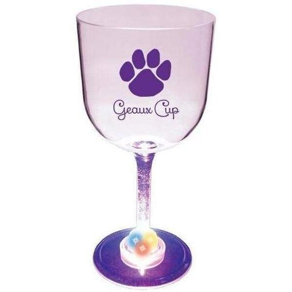 "Paw Print ""Geaux Cup"" 14 oz Light Up Wine - Party Cup Express"