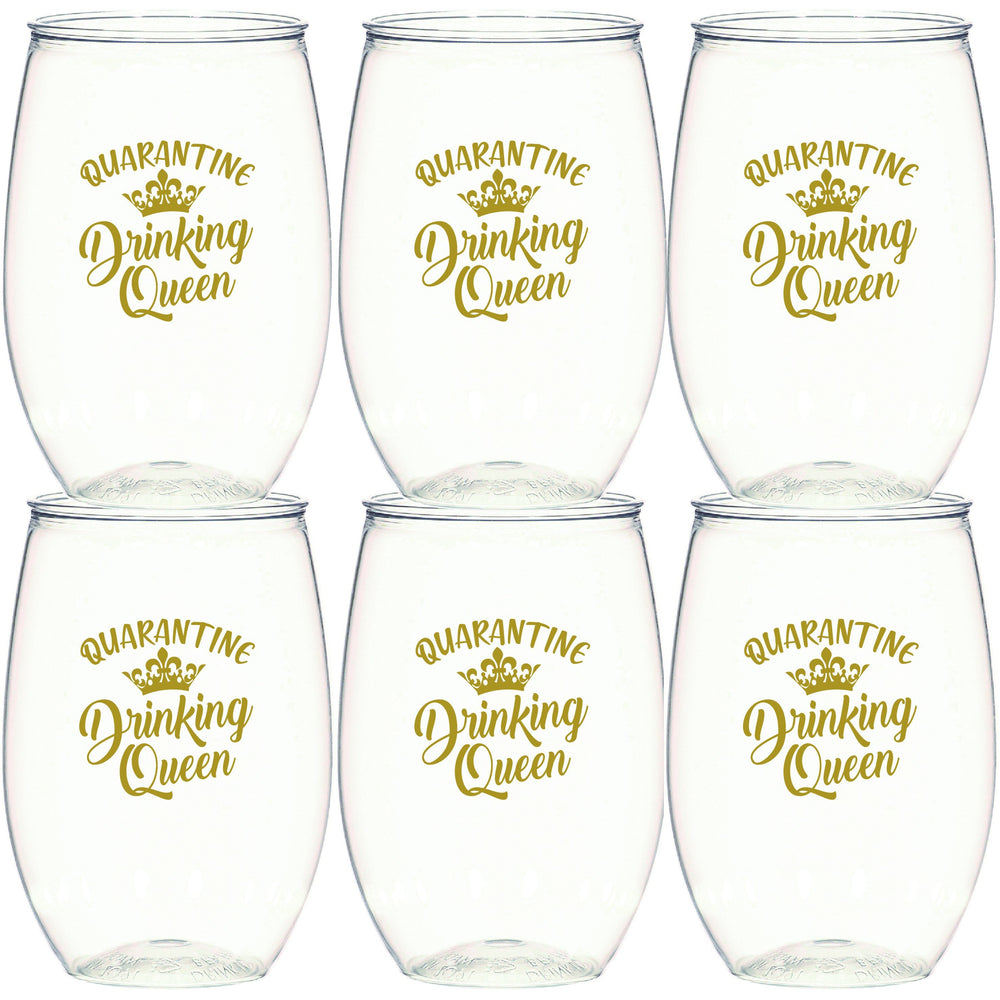 Quarantine Drinking Queen Stemless Wine Glasses (pk/6)
