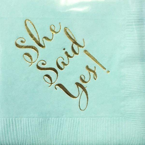"""She Said Yes!"" Beverage Napkins"