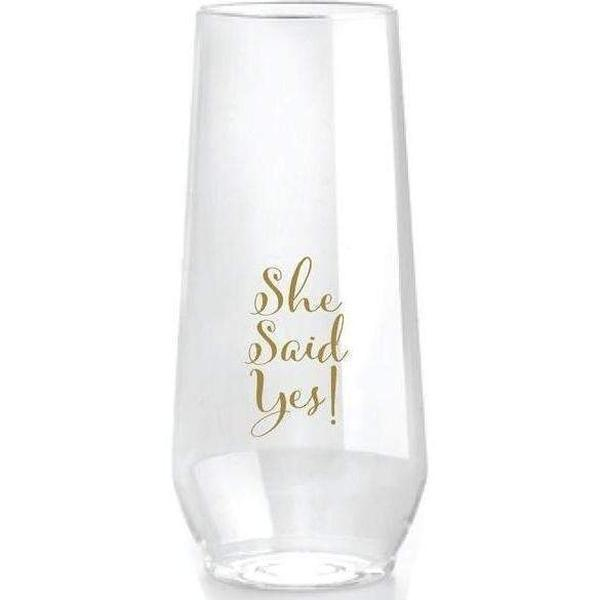 She Said Yes! Stemless Champagne Flutes