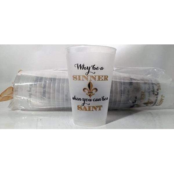 """Sinner or Saint?"" Large Frost Flex Cups - Party Cup Express"