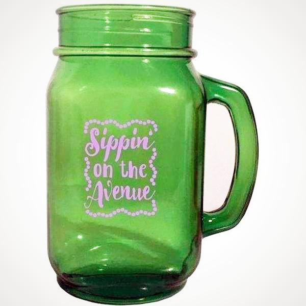 Sippin' on the Avenue Mason Jar Mug with Purple Laso - Party Cup Express