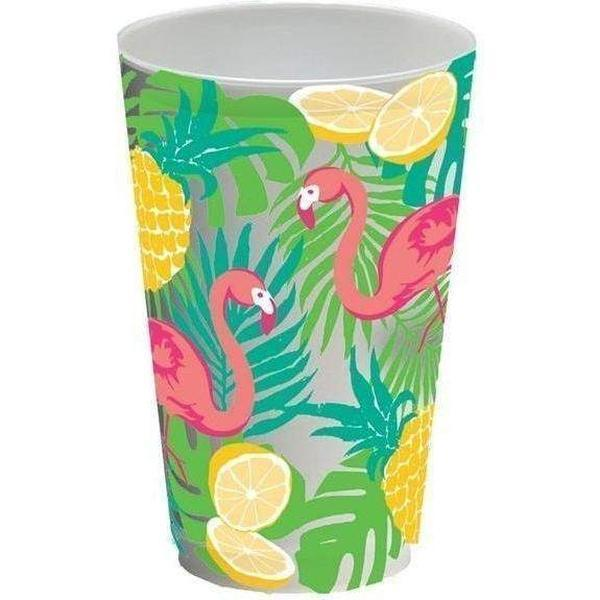 Summer Flamingo Frost Flex Cups (Pk/20) - Party Cup Express