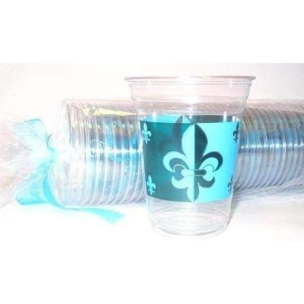 Green & Blue Fleur de Lis 16oz Clear Disposable Cups (pk/50)