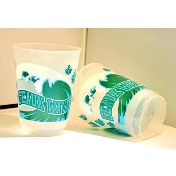 "Tulane ""Geaux Wave"" 16 Oz Frost Flex Cups - Party Cup Express"