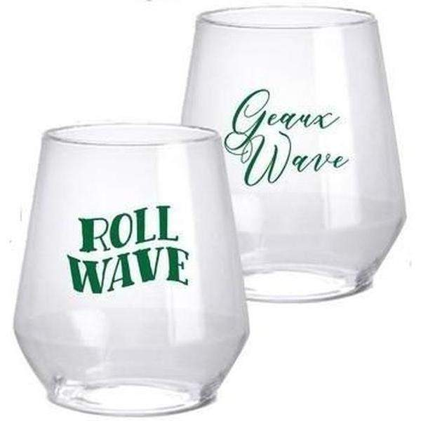 Tulane Stemless Wine Glasses - Party Cup Express
