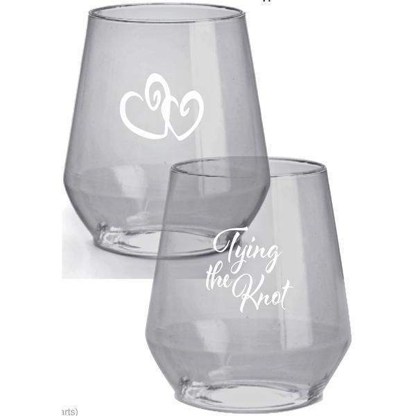 Tying the Knot Stemless Wine Glasses - Party Cup Express