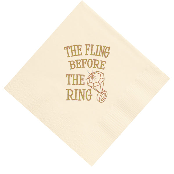 """Fling Before The Ring Beverage Napkins (pk/25) - Party Cup Express"