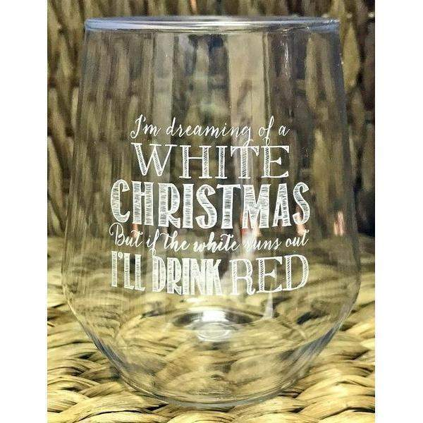 """White Christmas"" Stemless Wine Glasses - Party Cup Express"