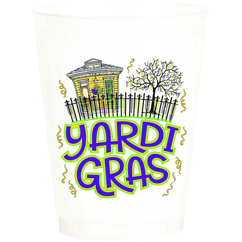 """Yardi Gras"" 16oz Pearl White Frost Flex (sleeve of 25 cups)"