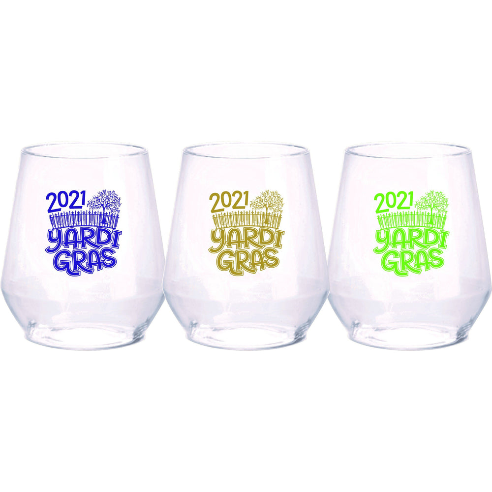"""Yardi Gras 2021"" 12oz Acrylic stemless wine (Bag of 6)"