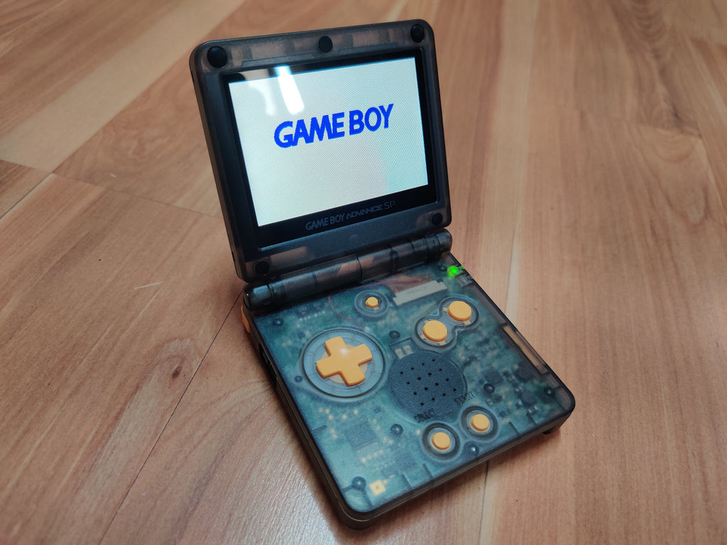 Gameboy Advance SP Transparent Black with yellow button Color AGS IPS Screen Mod with 10 Level Bright Adjustment