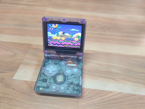 Gameboy Advance SP Transparent Clear Purple IPS V2 Screen Mod