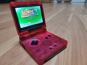 Gameboy Advance SP Transparent Clear Red IPS V2 Screen Mod
