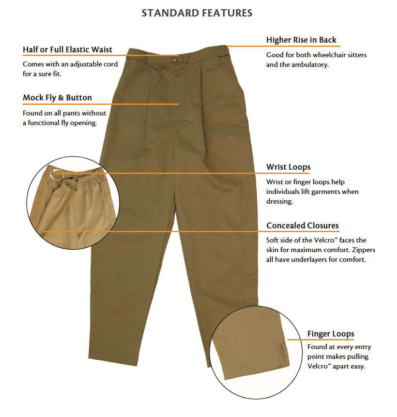 Standard features on Easy Access Pants for Older Adults