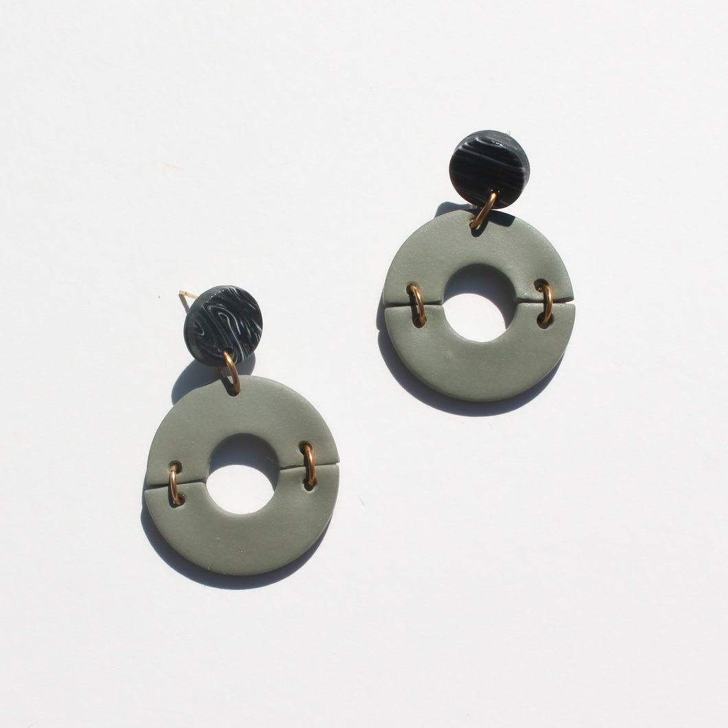 Olive & Black Marble Circle Earrings // OOAK