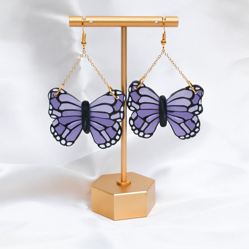 Purple Butterfly Dangles