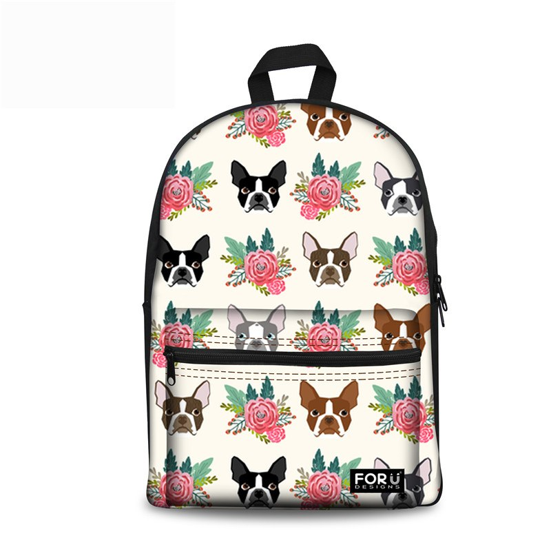 Boston Terrier Rucksack - White