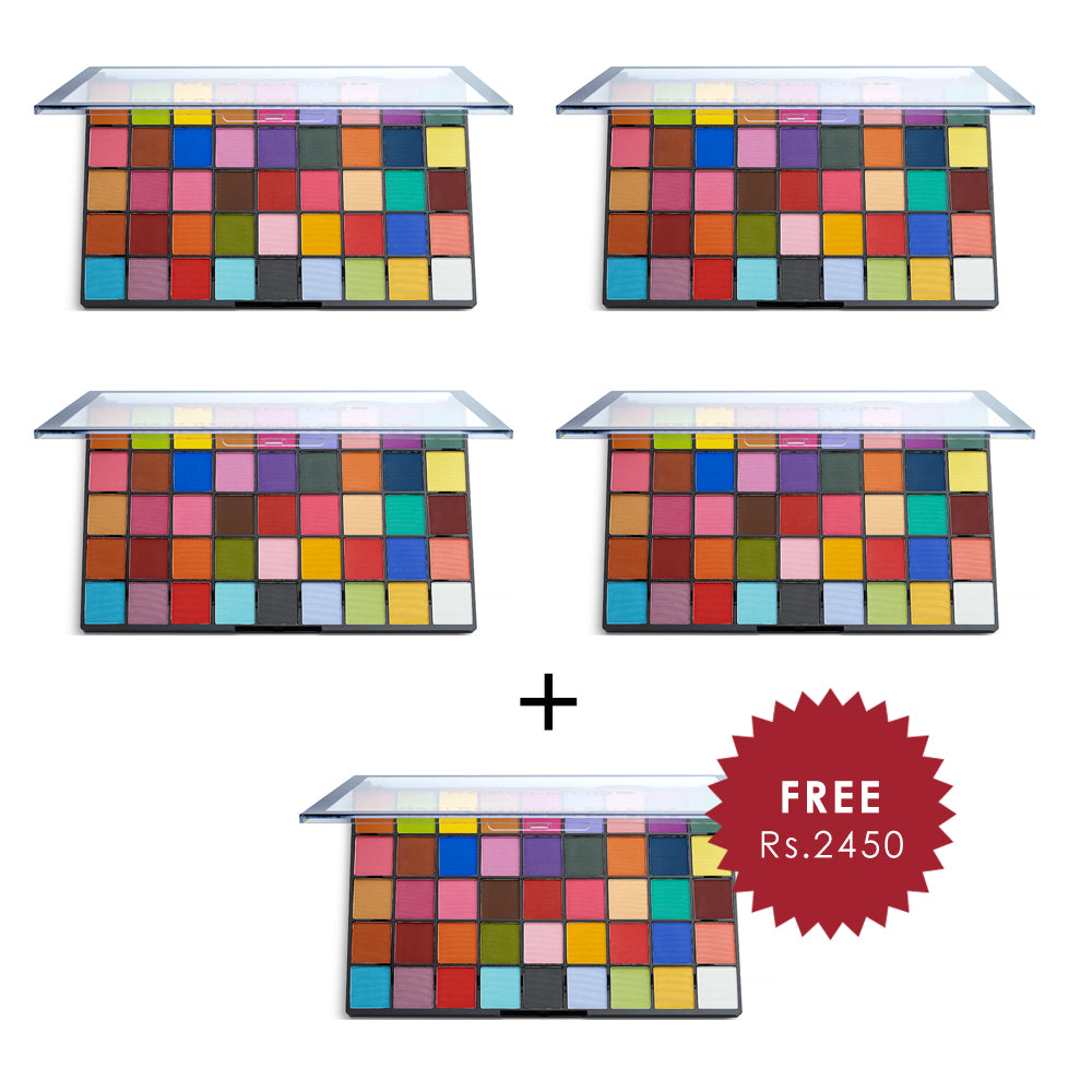 Makeup Revolution Maxi Reloaded Monster Mattes Eyeshadow Palette 4pc Set + 1 Full Size Product Worth 25% Value Free