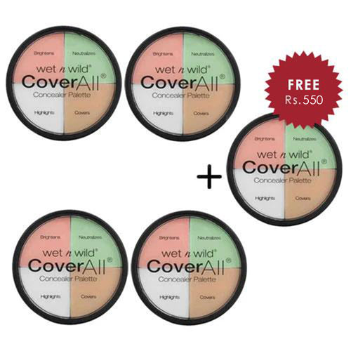 Wet N Wild Cover All Concealer Palette - Color Commentary 4pc Set + 1 Full Size Product Worth 25% Value Free