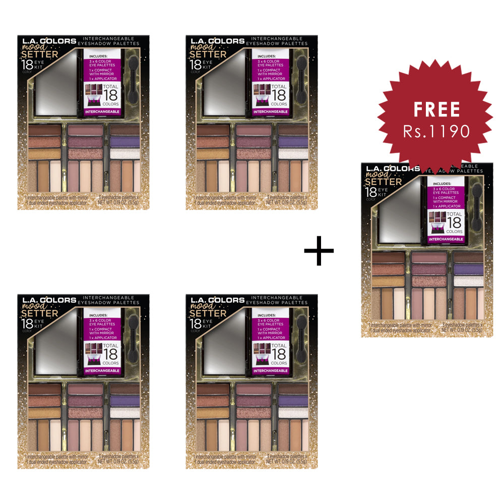 L.A. Colors 18 color Moodsetter Eyeshadow 4Pcs Set + 1 Full Size Product Worth 25% Value Free