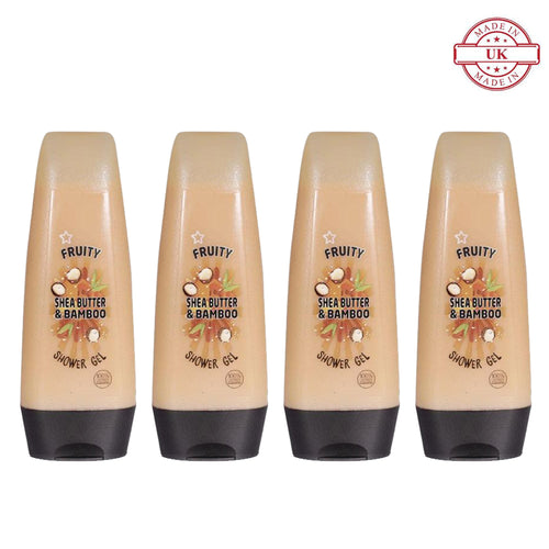 Superdrug Fruity Shea Butter and Bamboo Shower Gel 250ml 4Pcs Set