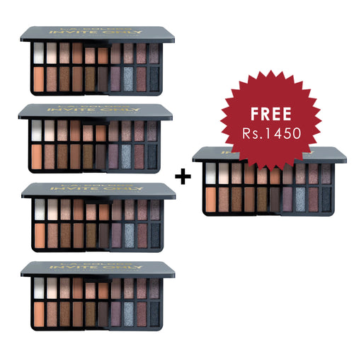 L.A. Colors 20 Color Eyeshadow Palette - Invite Only 4pc Set + 1 Full Size Product Worth 25% Value Free