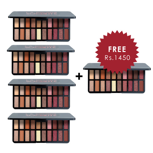 L.A. Colors 20 Color Eyeshadow Palette - Socialite 4pc Set + 1 Full Size Product Worth 25% Value Free