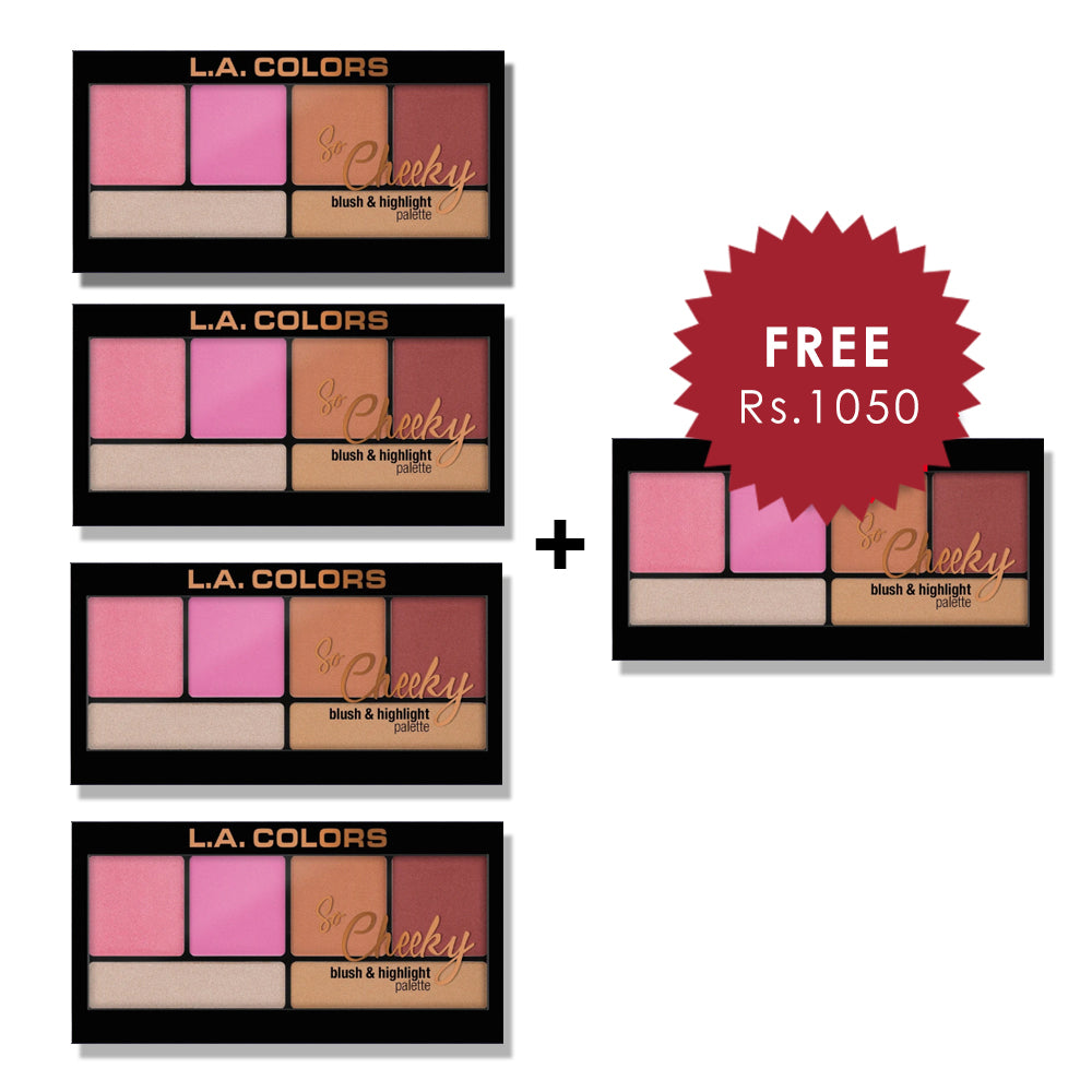 L.A. Colors So Cheeky Blush & Highlight Palette - Pink & Playful 4pc Set + 1 Full Size Product Worth 25% Value Free