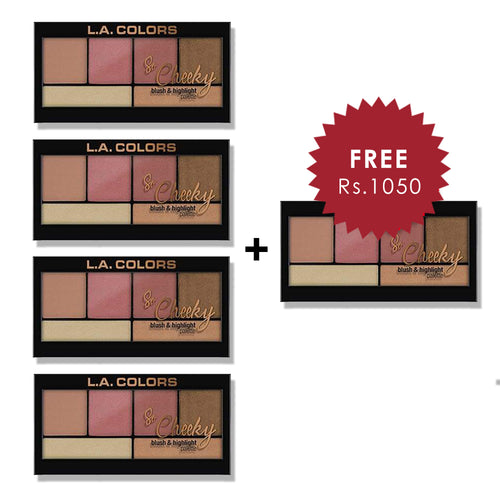 L.A. Colors So Cheeky Blush & Highlight Palette - Peaches & Cream 4pc Set + 1 Full Size Product Worth 25% Value Free