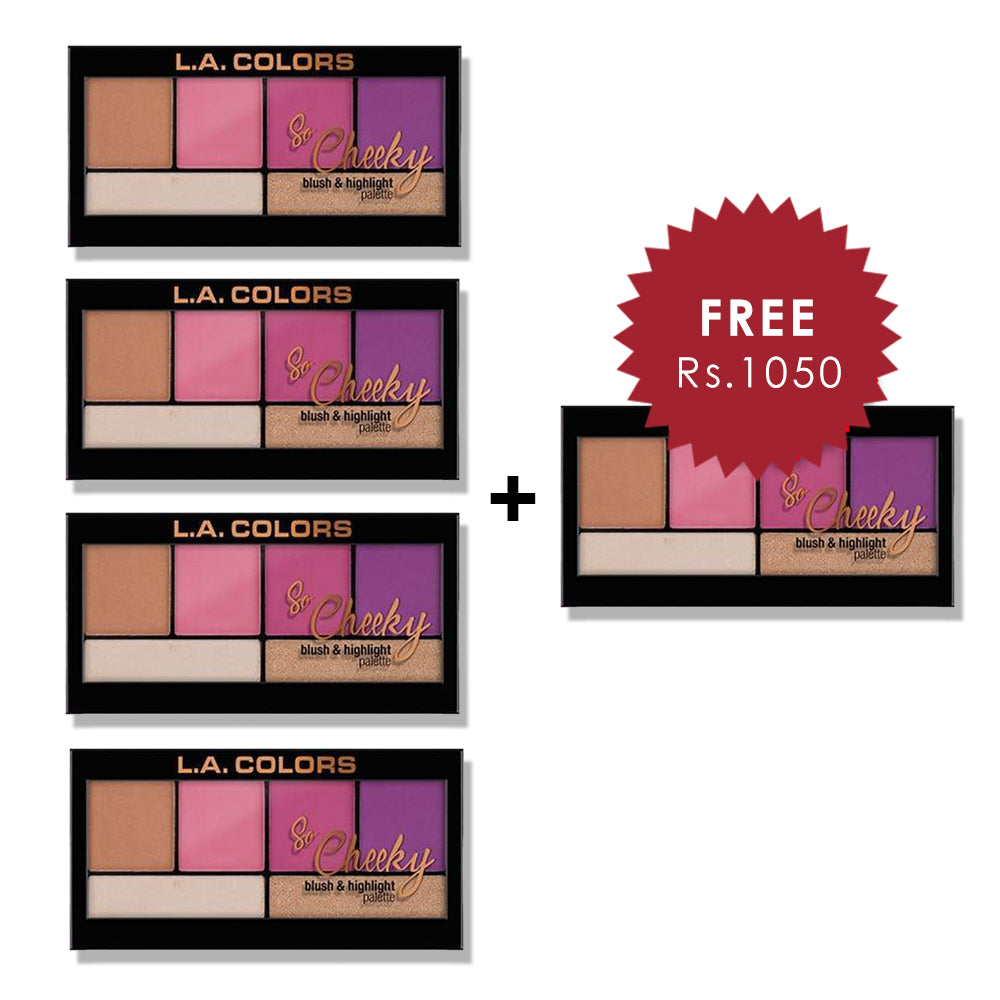 L.A. Colors So Cheeky Blush & Highlight Palette - Sweet & Sass 4pc Set + 1 Full Size Product Worth 25% Value Free