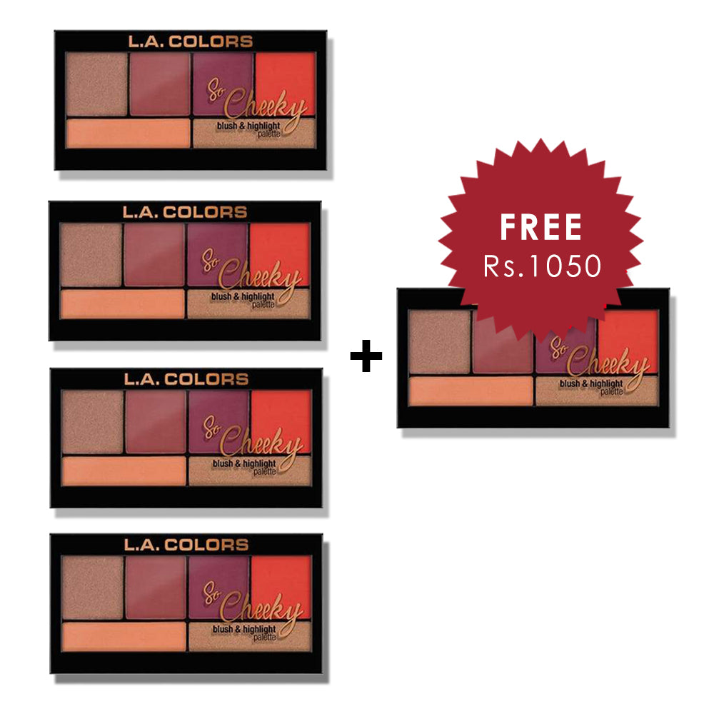 L.A. Colors So Cheeky Blush & Highlight Palette - Hot & Spicy 4pc Set + 1 Full Size Product Worth 25% Value Free
