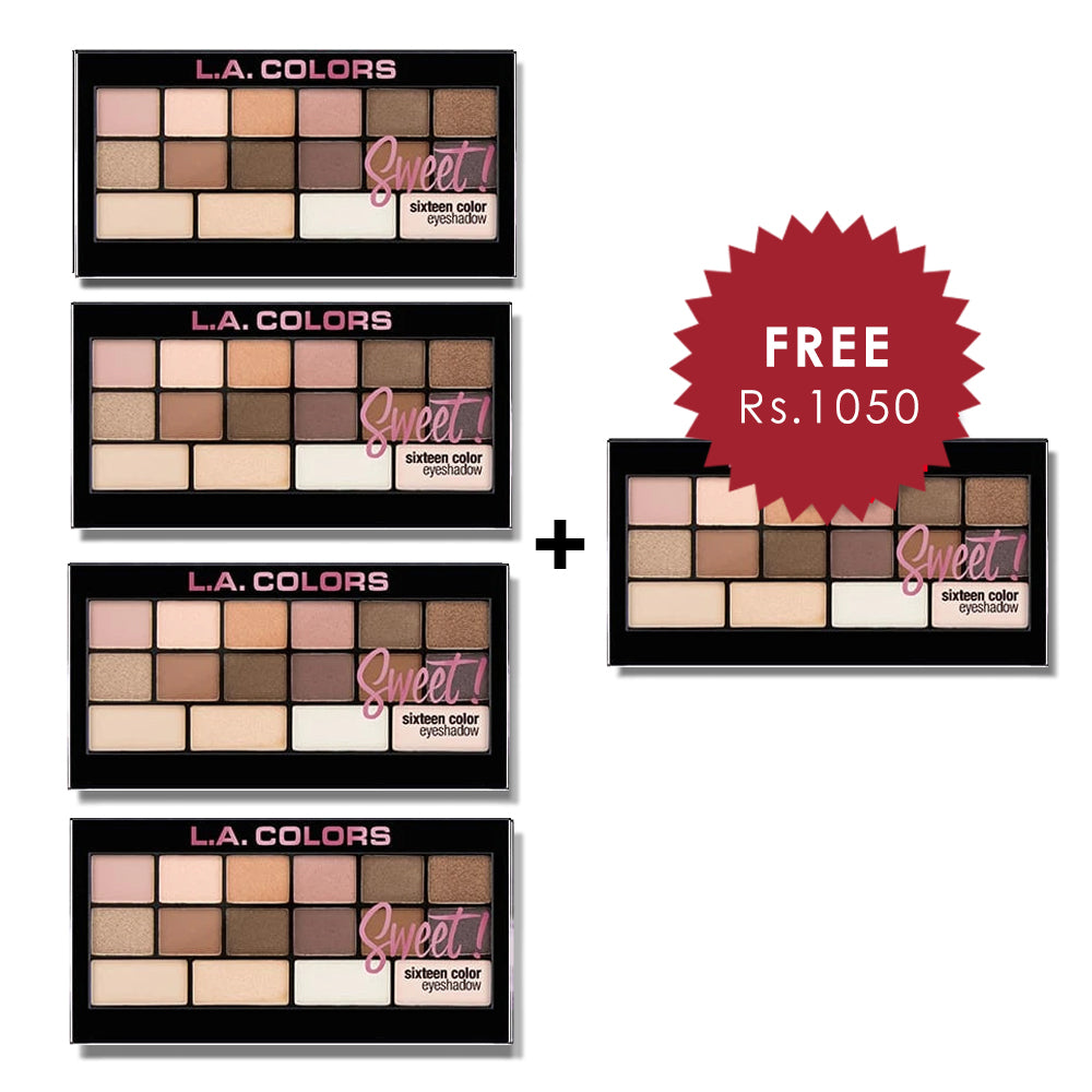 L.A. Colors 16 Color Eyeshadow palette - Charming 4pc Set + 1 Full Size Product Worth 25% Value Free