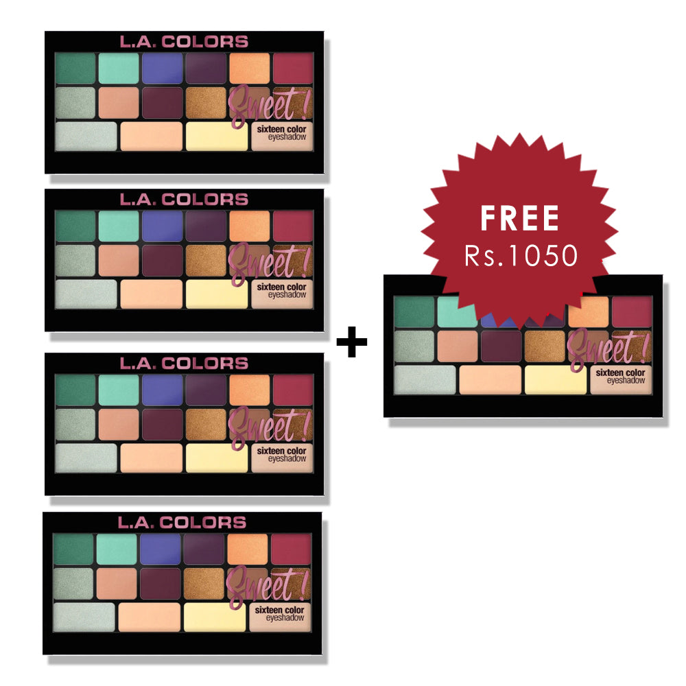 L.A. Colors 16 Color Eyeshadow Palette - Playful 4pc Set + 1 Full Size Product Worth 25% Value Free